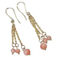 Vintage Natural Angel Skin Coral Dangle Earrings 14K Gold circa 1960's