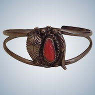 Vintage Native American Crafted Cuff Bracelet Sterling Silver & Red Coral circa 1960's