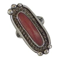 Native American Crafted Ring Red Coral & Sterling Silver Circa 1970's