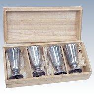 Vintage Set of 4 Cordial Cups Sterling Silver Japan in Original Box