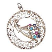 Big Jeweled Cornucopia Vintage Charm 14k Gold, Abundance