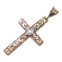 Ornate Hand Engraved Cross Pendant 14K Gold Diamond Accent circa 1945