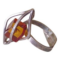 Caged Baltic Amber Cube Ring Handcrafted Sterling Silver