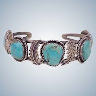 Great Vintage Native American Cuff Bracelet Sterling Silver & Turquoise