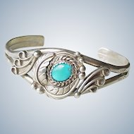 Vintage Native American Crafted Cuff Bracelet Sterling Silver & Turquoise circa 1970's