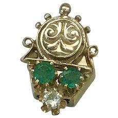 Jeweled Victorian Slide 14K Gold Emerald & Diamond