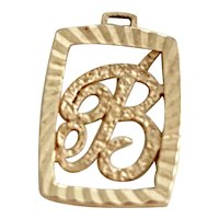 B Initial / Letter Small Vintage Charm 14K Gold