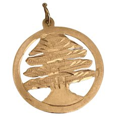 Tree of Life Vintage Charm 14K Gold Handcrafted