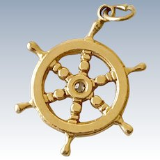 Ship Wheel Nautical Charm 14K Gold Three-Dimensional Diamond Accent