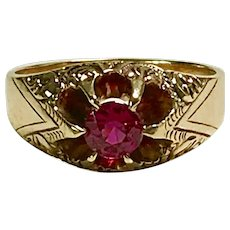 Victorian Era Ruby Solitaire Ring 10K Rose Gold .65 Carat
