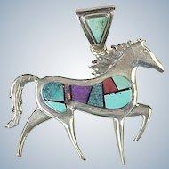 Navajo Pendant  Equestrian / Horse Intarsia Inlay Sterling Silver by Calvin Begay