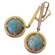 Czech Glass Vintage Dangle Earrings 14K Gold circa 1960's