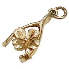 Small Good Luck Amulet Charm 14K Gold Wishbone & Clover