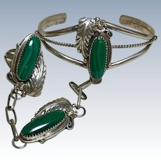 Navajo Crafted Slave Bracelet & Ring Sterling Silver & Malachite
