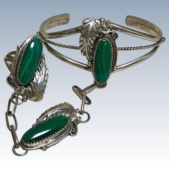Navajo Crafted Slave Bracelet & Ring Sterling Silver & Malachite
