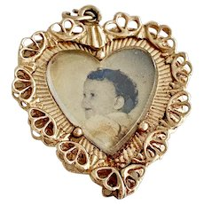 Big HEART Picture Frame Vintage Charm 14K Gold 1956