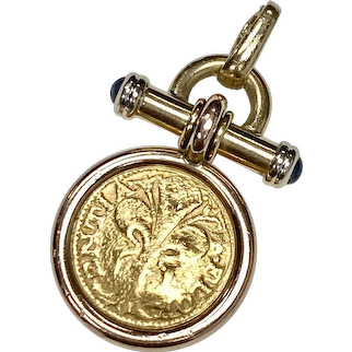 Italy Florin Gold Coin Pendant in 18K Frame Sapphire Accent