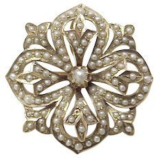 Victorian Era Brooch / Pin 14K Gold & Seed Pearls