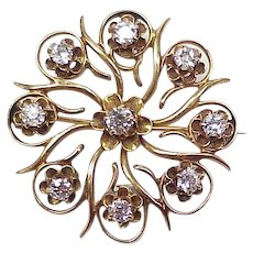 Victorian Diamond Brooch/Pendant 1.04 ctw Mine Cut 14K Gold