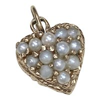 Jeweled HEART Vintage Charm 14K Gold & Cultured Pearl circa 1940's