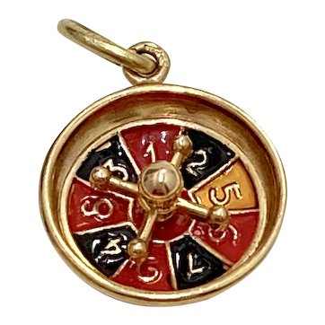 Moving Enameled Roulette Wheel Vintage Charm 18K Gold