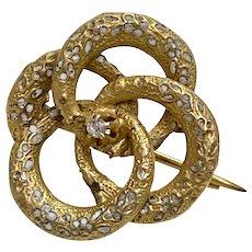 Victorian Era Small Pin 14K Gold Enamel & Diamond Accent