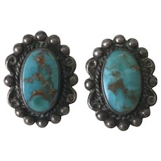 Native American Screw Back Earrings Sterling Silver & Turquoise
