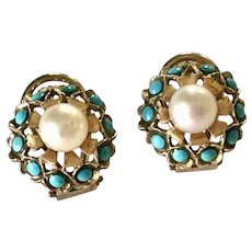 Vintage Earrings 14K Gold Persian Turquoise & Cultured Pearl