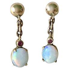Vintage Screw-Back Dangle Earrings 18K Gold Opal & Ruby