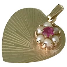 Jeweled Heart Vintage Charm 14K Gold Ruby & Cultured Pearl