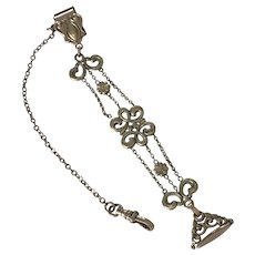 Victorian Ornate Watch Chain and Wax Seal Fob or Chatelaine Gold Filled