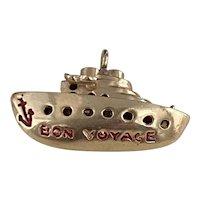 Ship Bon Voyage Vintage Charm 14K Gold Enamel Accent