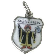 München / Munich Germany Vintage Charm Colorful Glass Enamel 800 Silver