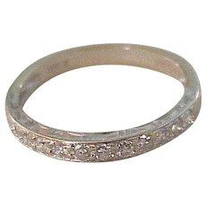 Vintage Diamond Band Ring 18k White Gold .31 ctw Wedding, Anniversary