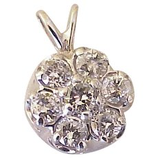 Diamond Cluster Pendant 14K White Gold 1.19 Carats Total