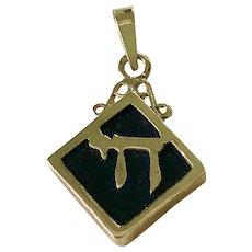 Jewish Chai Emblem Vintage Pendant / Charm 14K Gold Onyx