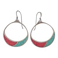 Navajo Crafted Hoop Earrings Sterling Silver, Turquoise & Coral Chip