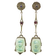 Fabulous Long Dangle Earrings c. 1920's Egyptian Revival Screw Backs