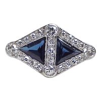 Art Deco Ring Platinum Sapphire & Diamond 2.48 Carats Total Weight
