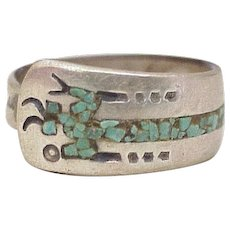 Navajo Deity, God of Medicine Man, Sterling Silver Turquoise Chip Inlay