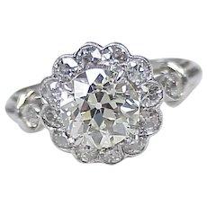 Edwardian Diamond Ring 1.64 Center / 2.21 ctw, Platinum