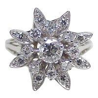 Vintage Diamond 1.07 ctw Snow Flake Cluster Ring14k White Gold circa 1970's