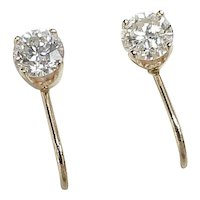 Vintage DIAMOND 1.0 ctw Stud Screw Back Earrings circa 1960's