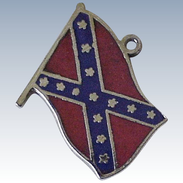 vintage confederate flag charm sterling silver enameled detail a