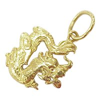 Vintage 22k  Gold Chinese Dragon Charm / Pendant circa 1980's