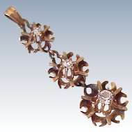 Victorian Drop Pendant 9k Rose Gold & Faux Diamond