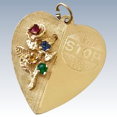 Jeweled Heart Vintage Charm, I'll Never Stop Loving You, 14K Gold