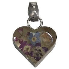 Pressed Flowers in Heart Sterling Silver Vintage Charm