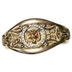 Victorian Era Opulent BIG Lion Head Bangle Bracelet Rolled Gold Jeweled Accent