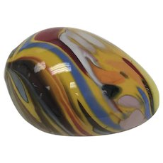 Colorful Glass Egg Paperweight, Art Glass